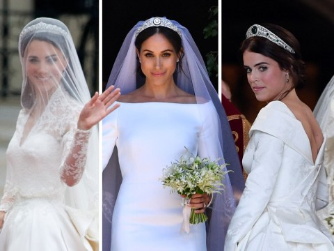 Princess Eugenie's wedding dress compared to Meghan Markle's, Kate Middleton's, Diana's and more – vote for your favourite