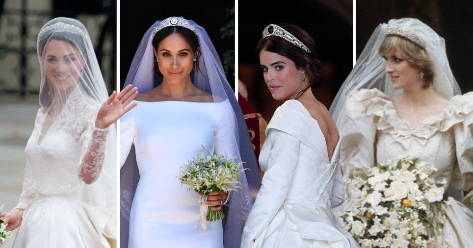 47ed6b1e How do the royal wedding dresses compare – from Kate Middleton's to Meghan  Markle's to Princess Eugenie's to Diana, Princess of Wales' (Picture: PA)