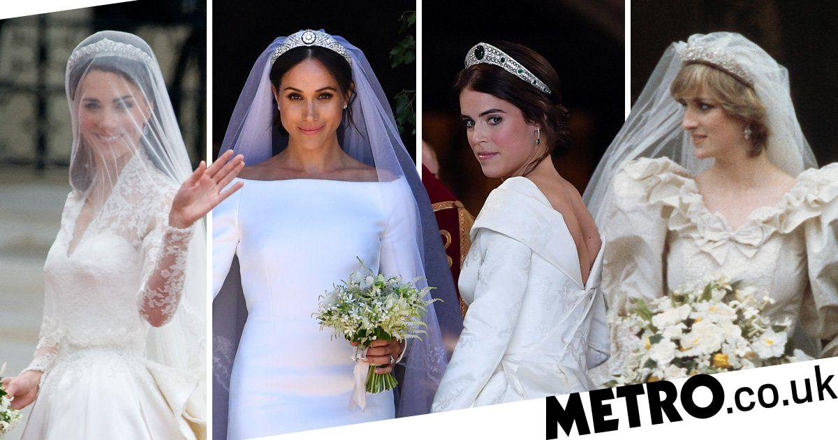 Royal Wedding Dresses Compared Eugenie Meghan Kate Diana And