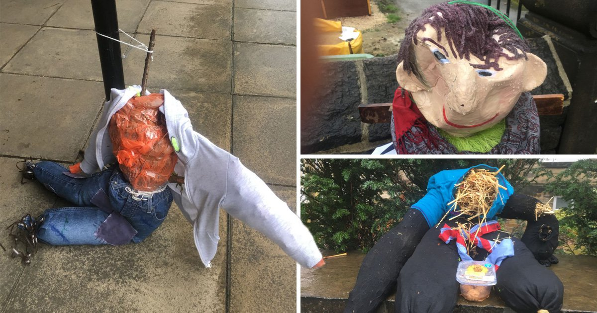 Scarecrows decapitated and have heads caved in by 'rampaging vandals'