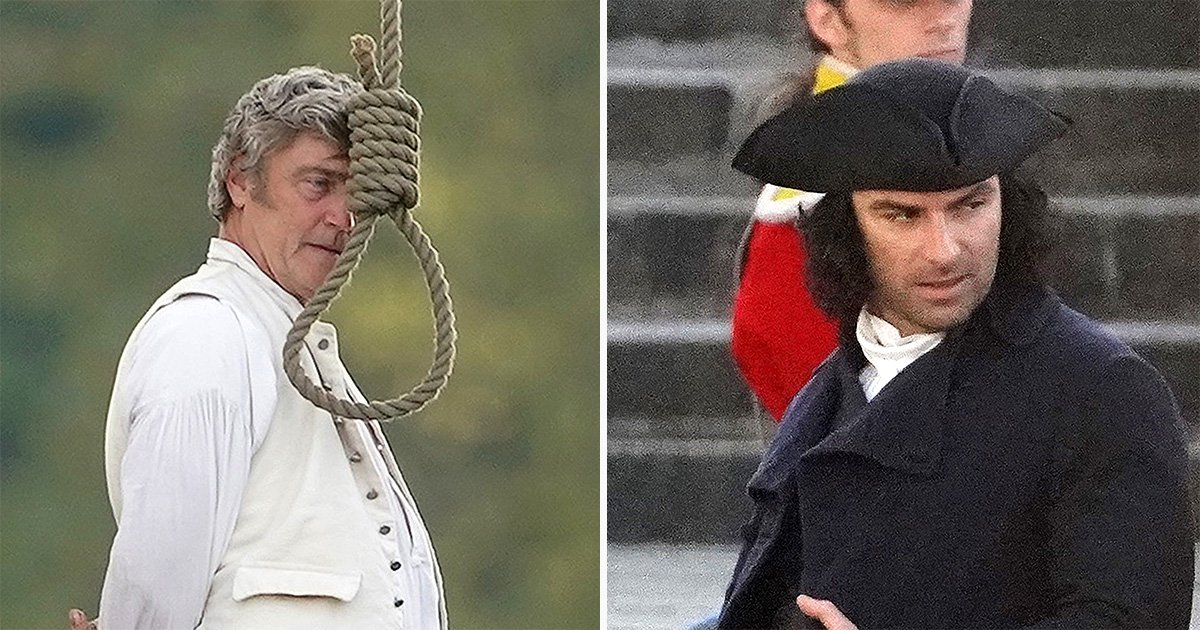 Poldark gets bleak as filming sees Aidan Turner at a hanging in central London