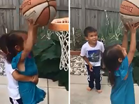 Heartwarming moment brother helps sister play basketball then tells her 'you're strong'