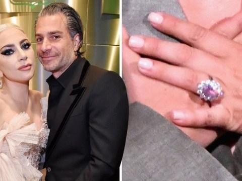Lady Gaga shows off stunning $400,000 pink diamond engagement ring