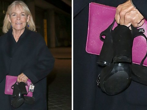 Linda Robson is a woman after our own hearts as she leaves ITV Palooza party barefoot and carrying heels