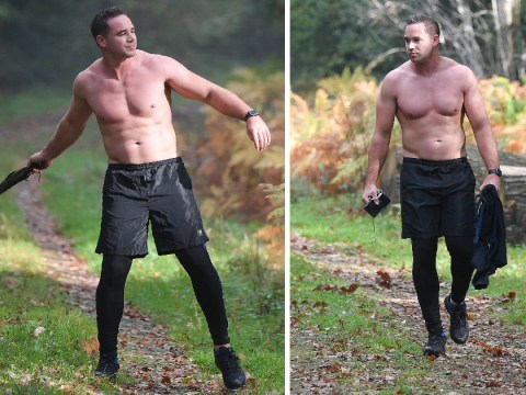 Kieran Hayler acts as if it's completely natural to go topless jogging in October