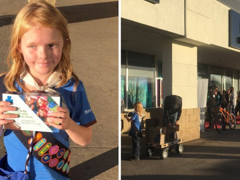 Girl, 9, sells out of cookies after setting up stall outside legal cannabis shop