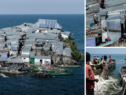 Tiny African fishing island, half the size of a football pitch, where 500 people cram into homes
