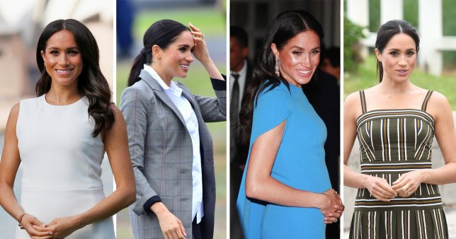 579505c6ac76f Meghan Markle has worn an array of striking outfits during her time in  Australia (Picture: AP; WireImage; Rex; Getty)