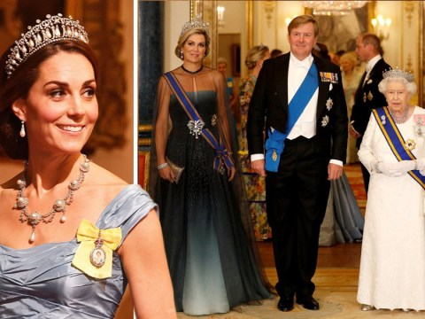 Kate Middleton wears Princess Diana's diamonds at state banquet with Queen and Prince William
