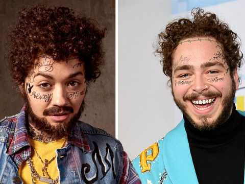 Rita Ora transforms into Post Malone with face tattoos and grilled teeth for Halloween