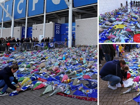 Flowers, scarves and football shirts laid at Leicester City stadium after helicopter crash