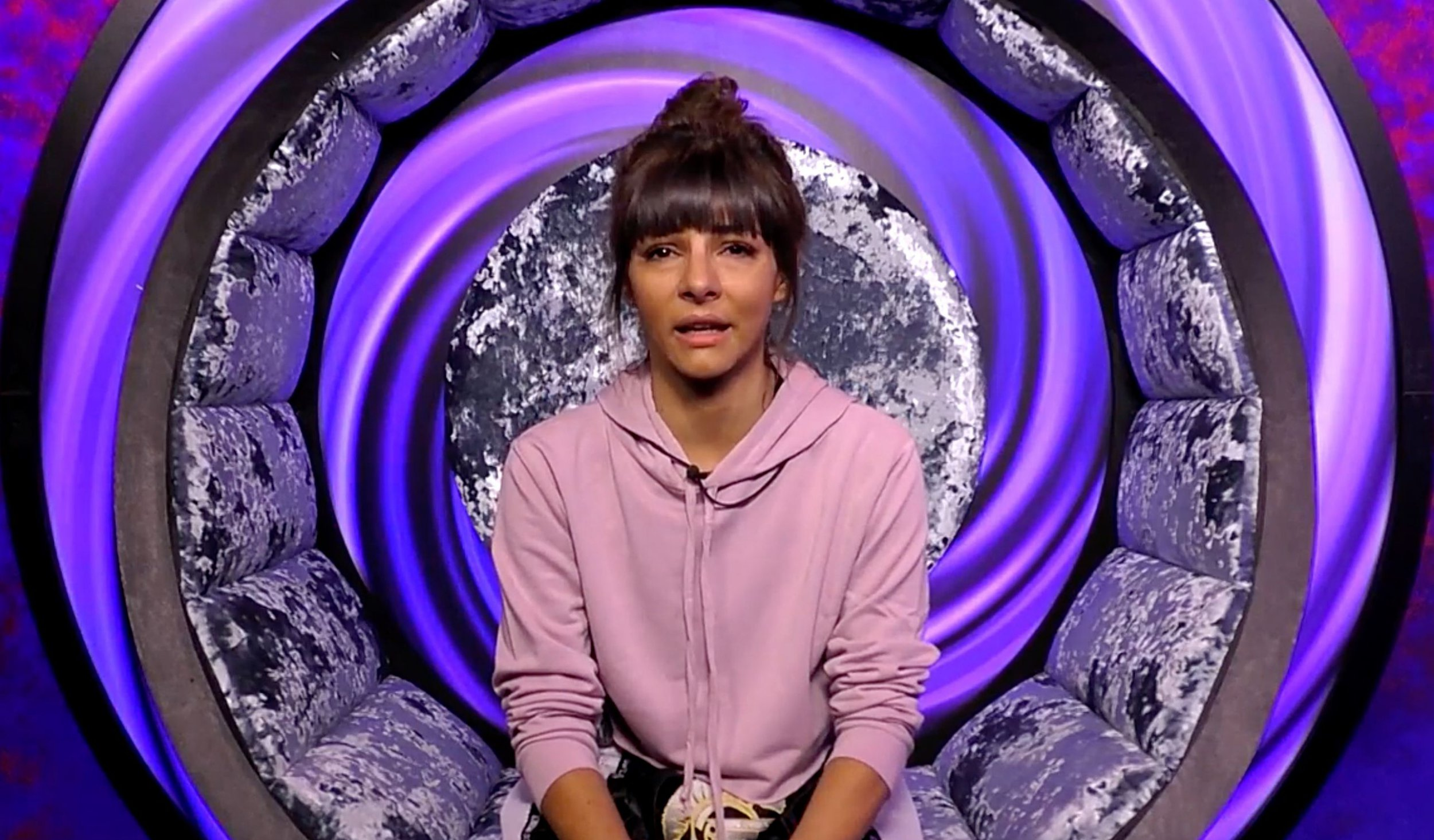 Editorial Use Only Mandatory Credit: Photo by REX/Shutterstock (9826810az) Roxanne Pallett cries in the diary room 'Celebrity Big Brother' TV show, Series 22, Elstree Studios, Hertfordshire, UK - 30 Aug 2018