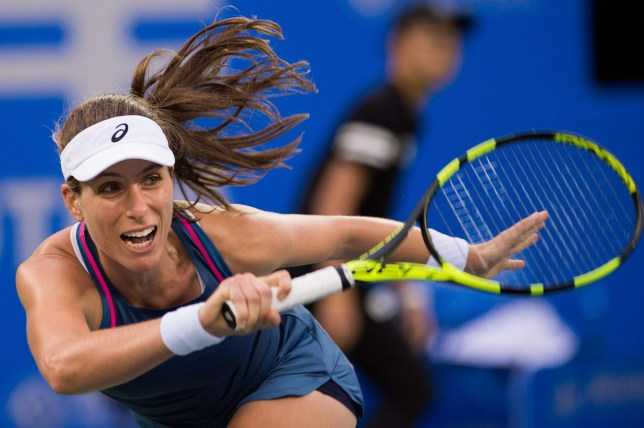 Johanna Konta of Britain hits a return against Ashleigh Barty of Australia during their women's singles second round match of the WTA Wuhan Open tennis tournament in Wuhan on September 24, 2018. (Photo by NICOLAS ASFOURI / AFP)NICOLAS ASFOURI/AFP/Getty Images