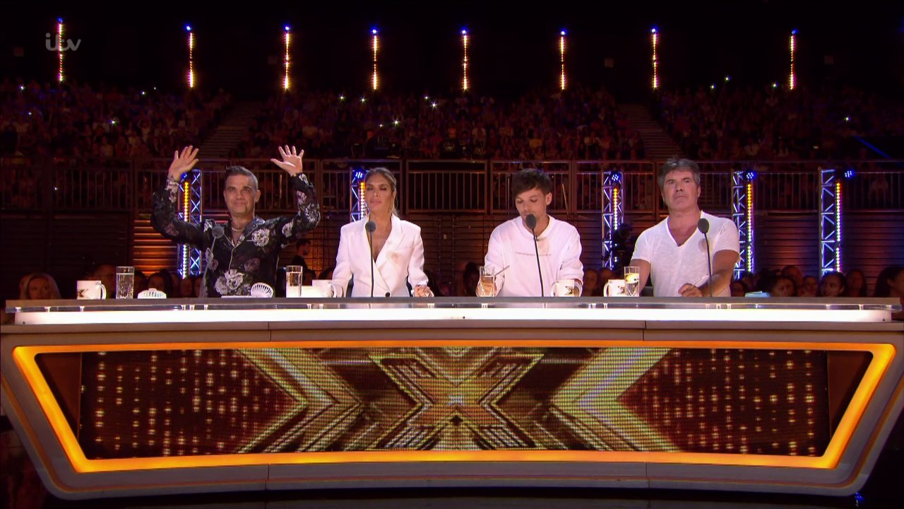 Robbie Williams, Ayda Field, Louis Tomlinson and Simon Cowell on The X Factor in 2018