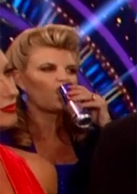 Susannah Constantine drinking red bull during Strictly Come Dancing, 29.09.2018 (Picture: BBC)