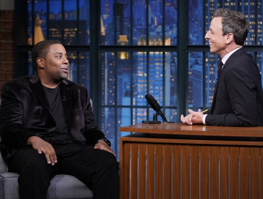 LATE NIGHT WITH SETH MEYERS -- Episode 741 -- Pictured: (l-r) Comedian Kenan Thompson during an interview with host Seth Meyers on October 1, 2018 -- (Photo by: Lloyd Bishop/NBC/NBCU Photo Bank via Getty Images)