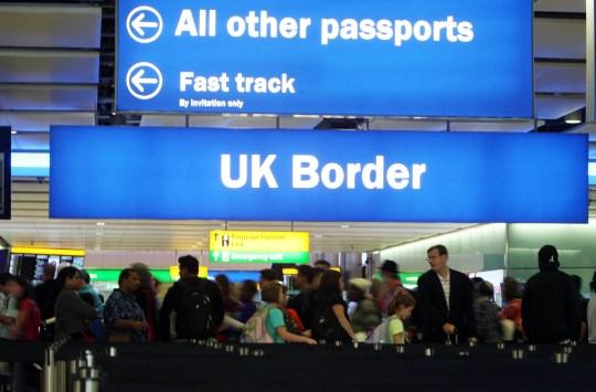 General view of passengers going through UK Border at Terminal 2 of Heathrow Airport.