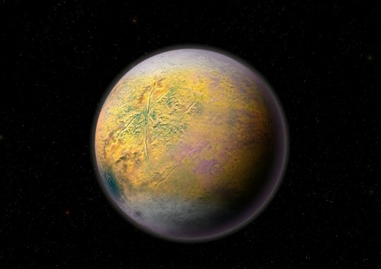 ***EMBARGOED UNTIL 15.00, TUES OCT 2ND (10.00 ET)*** An artist?s conception of a distant Solar System Planet X, which could be shaping the orbits of smaller extremely distant outer Solar System objects like 2015 TG387 discovered by a team of Carnegie?s Scott Sheppard, Northern Arizona University?s Chad Trujillo, and the University of Hawaii?s David Tholen. See national story NNPLANET . A 'Super Earth' really may lie at the edge of the Solar System, according to new research. Astronomers have discovered an object two and a half times further from the Sun than Pluto that adds to evidence of the existence of 'Planet X'. It is one of the most distant bodies ever identified within the Sun's gravitational range. And its unusual orbit supports the theory there is a huge, rocky world ten times bigger than our own out there. Nicknamed 'Planet Nine', the idea first emerged in 2014 when Dr Scott Sheppard and Professor Chad Trujillo sought to explain a strange cluster of six small objects in the Kuiper Belt, a field of icy and rocky objects beyond Neptune.