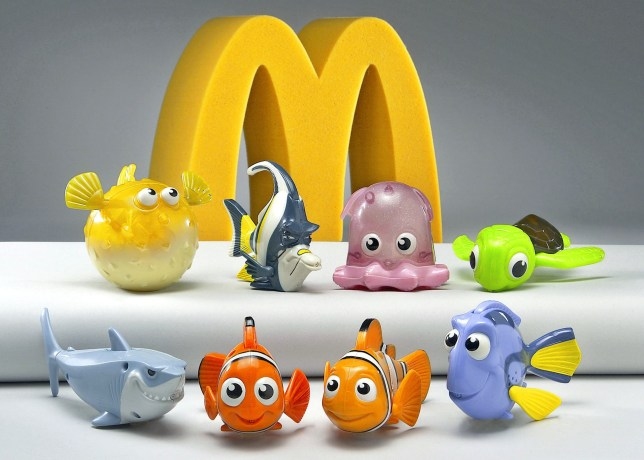 """Eight colorful characters from the computer animated film """"Finding Nemo"""" the Walt Disney Pictures presentation of a Pixar Animation Studios' film are shown in this 2003 file photograph. The character toys were featured in Happy Meal's from McDonald's for children. Disney CEO Robert Iger has been authorized by the Disney board to make an offer to buy Pixar Animation Studios Inc and is expected to do so by January 24, a source familiar with the matter said late January 23. NO SALES NO ARCHIVES REUTERS/PrNewsFoto/Handout/Files"""