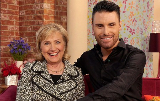 Editorial use only Mandatory Credit: Photo by Ken McKay/ITV/REX/Shutterstock (3885781co) Hillary Clinton and Rylan Clark 'This Morning' TV Programme, London, Britain - 04 Jul 2014 HILLARY CLINTON - She served as the US Secretary of State and after nearly 4 decades in public service as an advocate, attorney, First Lady and Senator, Hillary Clinton gives us the inside account of the crises, choices and challenges she faced. We'll be talking to her about becoming a grandmother for the first time and we ask if she'll be running for President in 2016. [Book: Hard Choices by Hillary Rodham Clinton - out now]