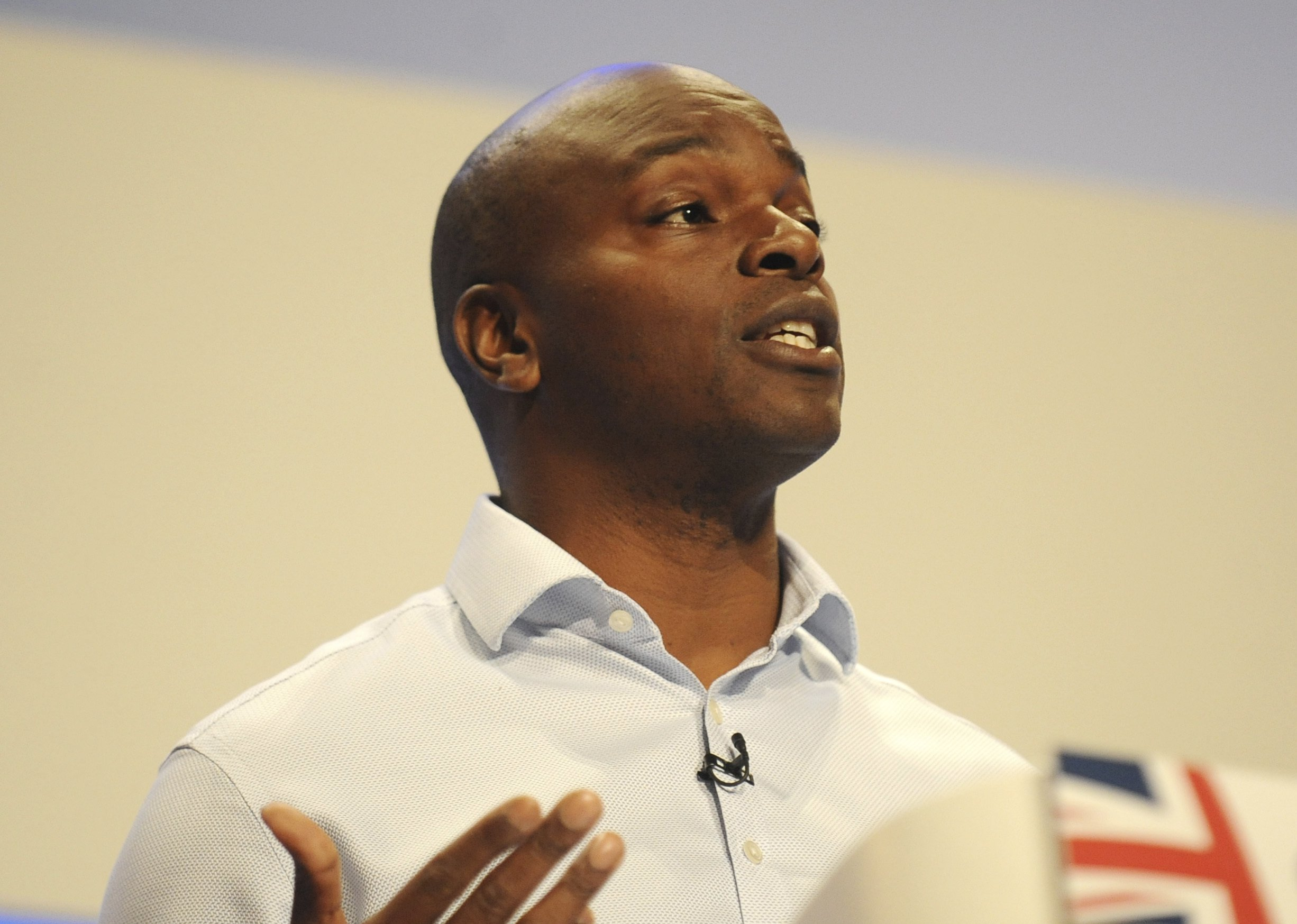 Tory candidate for Mayor of London Shaun Bailey speaks during the final day of the Conservative Party Conference at the ICC, in Birmingham, England, Wednesday, Oct. 3 , 2018. (AP Photo/Rui Vieira)