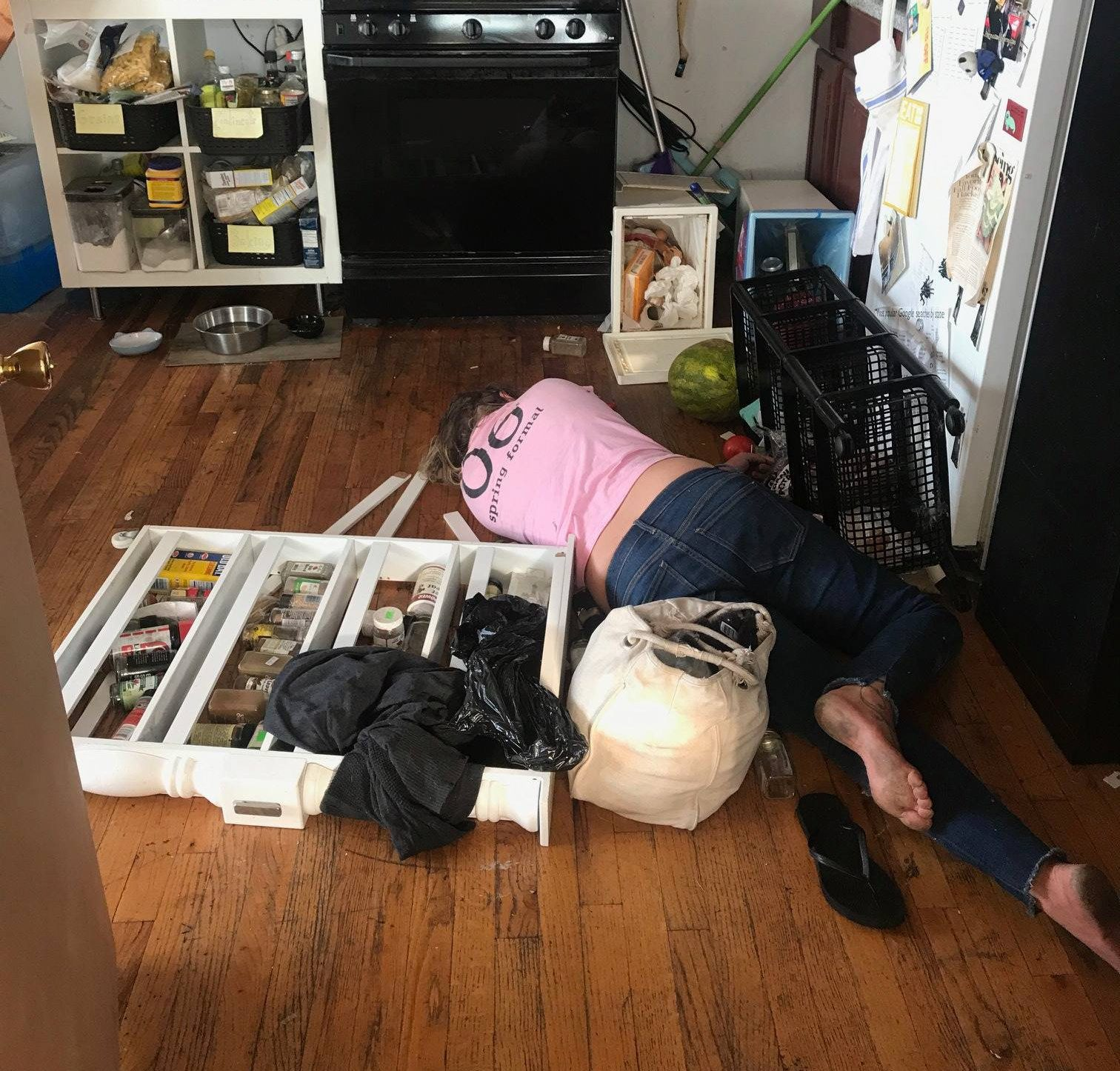METRO GRAB - taken from th Facebook of Geevee Snow without permission - viral Cleaner helped herself to homeowner's vodka then passed out on the floor https://www.facebook.com/photo.php?fbid=10212092184010820&set=pcb.10212092202611285&type=3&theater Geevee Snow