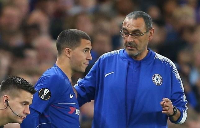 Mandatory Credit: Photo by Michael Zemanek/BPI/REX (9914867bu) Maurizio Sarri manager of Chelsea instructs Eden Hazard of Chelsea Chelsea v MOL Vidi, UEFA Europa League, Group L, Football, Stamford Brodge, London, UK - 04 Oct 2018
