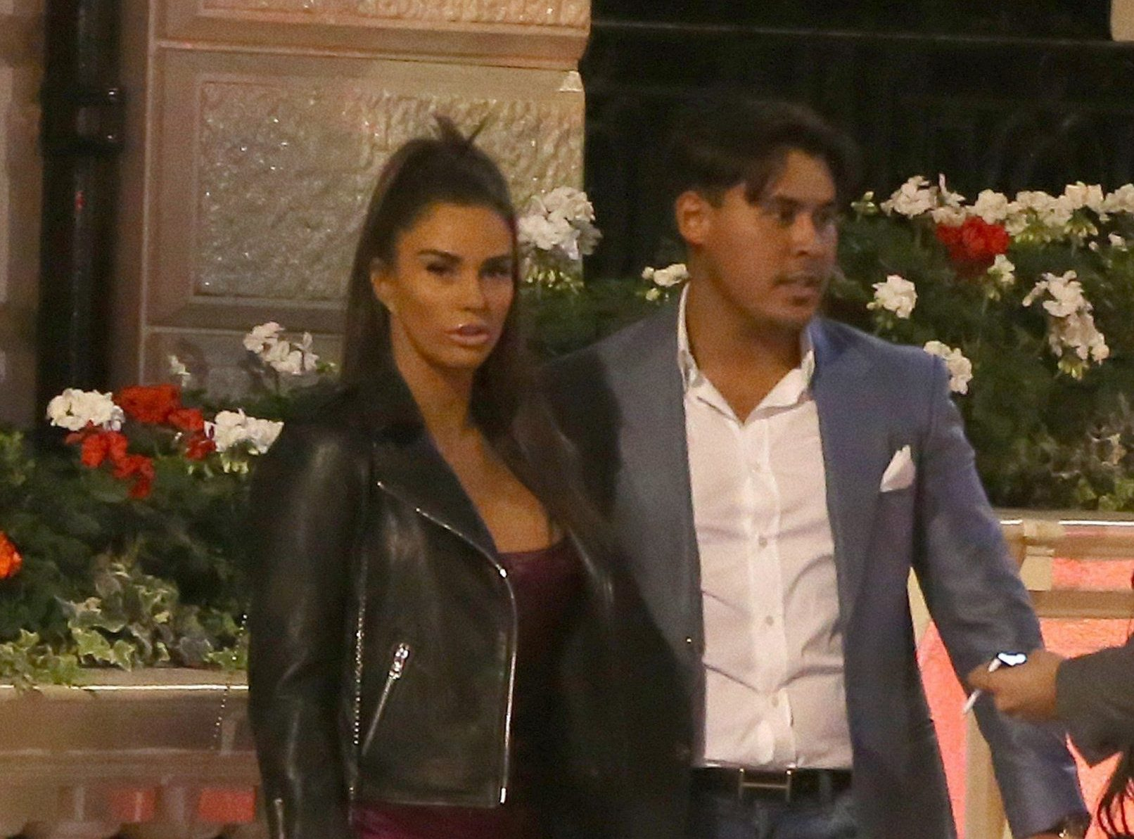 BGUK_1360310 - London, UNITED KINGDOM - Katie Price & Alex Adderson are seen here on a night out in London. Katie & Alex was seen leaving The Mayfair Hotel at 9.30pm and then headed to a near by private house for around half an hour before leaving with a small group of friends and heading to Annabels Private Members Club in Mayfair at 10pm. Katie & Alex left Annabels via the back exit at 2am in a taxi and headded off to collect Katie's Pink Range rover which Alex then Drove Katie home in. Pictured: Katie Price, Alex Adderson BACKGRID UK 5 OCTOBER 2018 BYLINE MUST READ: CRYSTAL PIX / BACKGRID UK: +44 208 344 2007 / uksales@backgrid.com USA: +1 310 798 9111 / usasales@backgrid.com *UK Clients - Pictures Containing Children Please Pixelate Face Prior To Publication*