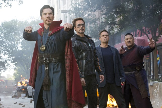 Editorial use only. No book cover usage. Mandatory Credit: Photo by Walt Disney Studios/Moviestore/REX/Shutterstock (9656345d) Benedict Cumberbatch, Robert Downey Jr, Mark Ruffalo, Benedict Wong Avengers Infinity War - 2018