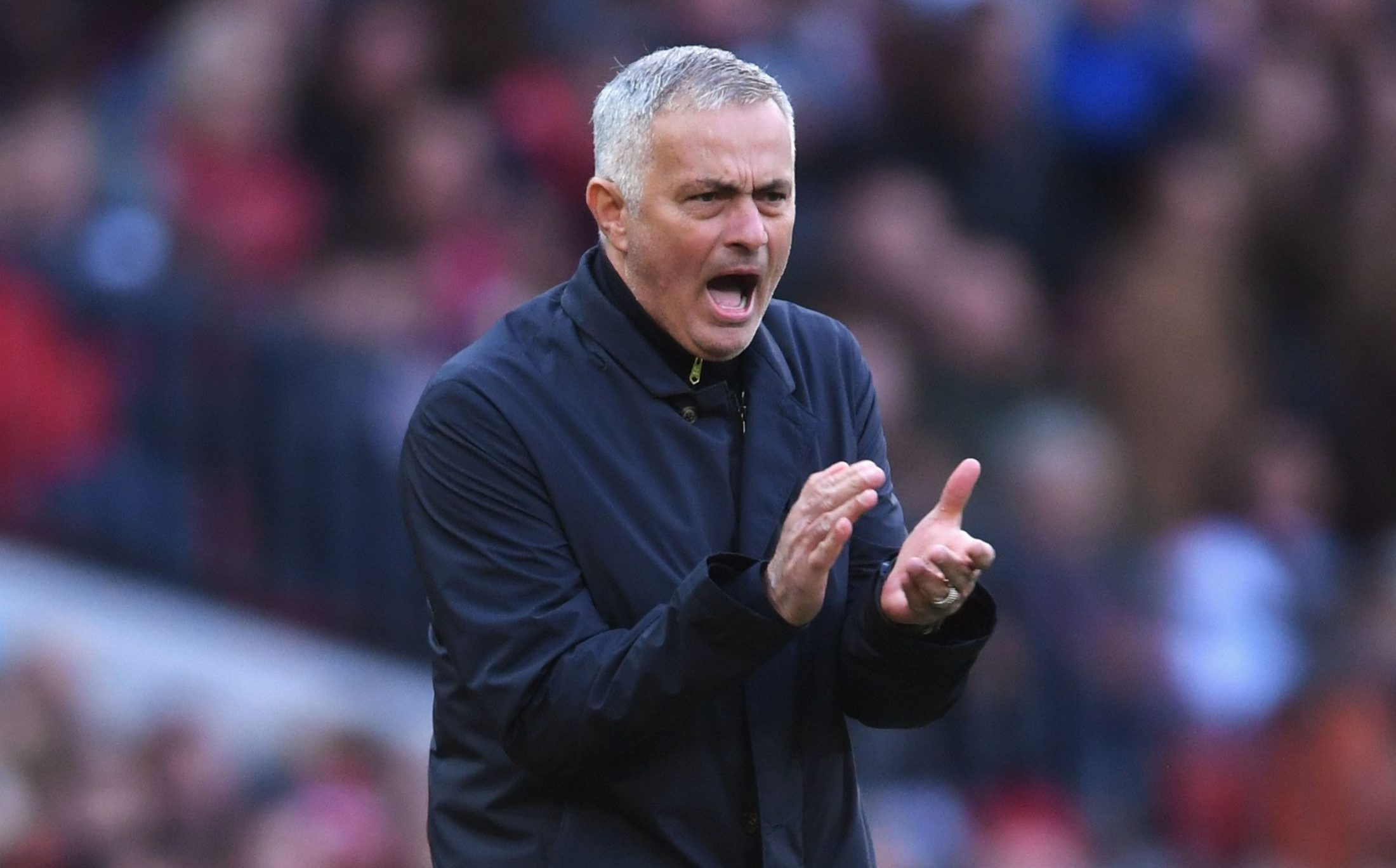 MANCHESTER, ENGLAND - OCTOBER 06: Jose Mourinho, Manager of Manchester United gives his team instructions during the Premier League match between Manchester United and Newcastle United at Old Trafford on October 6, 2018 in Manchester, United Kingdom. (Photo by Laurence Griffiths/Getty Images)