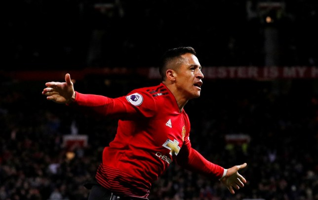 """Soccer Football - Premier League - Manchester United v Newcastle United - Old Trafford, Manchester, Britain - October 6, 2018 Manchester United's Alexis Sanchez celebrates scoring their third goal REUTERS/Phil Noble EDITORIAL USE ONLY. No use with unauthorized audio, video, data, fixture lists, club/league logos or """"live"""" services. Online in-match use limited to 75 images, no video emulation. No use in betting, games or single club/league/player publications. Please contact your account representative for further details."""