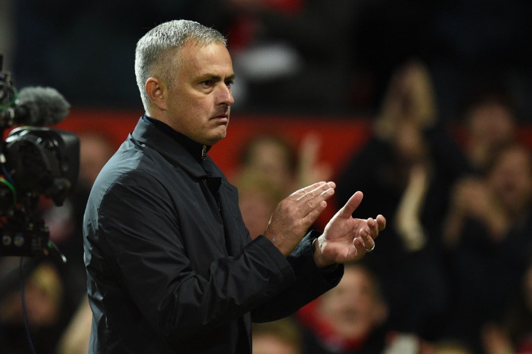 Manchester United's Portuguese manager Jose Mourinho gestures after the English Premier League football match between Manchester United and Newcastle at Old Trafford in Manchester, north west England, on October 6, 2018. (Photo by Oli SCARFF / AFP) / RESTRICTED TO EDITORIAL USE. No use with unauthorized audio, video, data, fixture lists, club/league logos or 'live' services. Online in-match use limited to 120 images. An additional 40 images may be used in extra time. No video emulation. Social media in-match use limited to 120 images. An additional 40 images may be used in extra time. No use in betting publications, games or single club/league/player publications. / OLI SCARFF/AFP/Getty Images