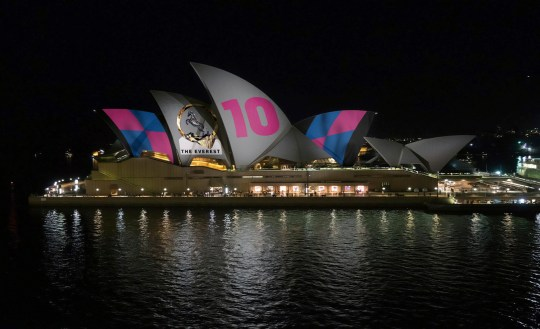 This image provided by Racing NSW shows an artist???s impression of how horse race advertising will look on the Sydney Opera House. A plan to project a horse racing advertisement on the famed sails of the Sydney Opera House is dividing Australians. (Racing NSW via AP)