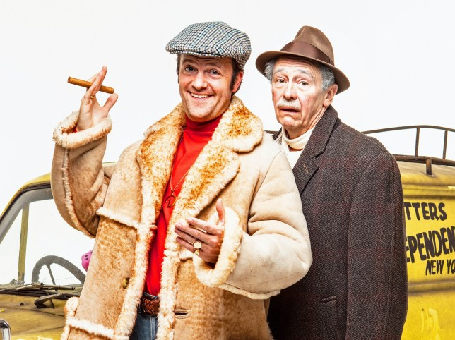 """Undated handout photo of Tom Bennett as Del Boy (left) and Paul Whitehouse as Grandad, who will star in a musical version of Only Fools And Horses, which has been created to honour the """"delicate legacy"""" of its deceased writer John Sullivan, with songs from the late Chas Hodges. PRESS ASSOCIATION Photo. Issue date: Monday October 8, 2018. The creator of the long-running sitcom died aged 64 in 2011, before work on a musical retelling of the Trotter's misadventures could be completed. See PA story SHOWBIZ Horses. Photo credit should read: Trevor Leighton/PME/PA Wire NOTE TO EDITORS: This handout photo may only be used in for editorial reporting purposes for the contemporaneous illustration of events, things or the people in the image or facts mentioned in the caption. Reuse of the picture may require further permission from the copyright holder."""
