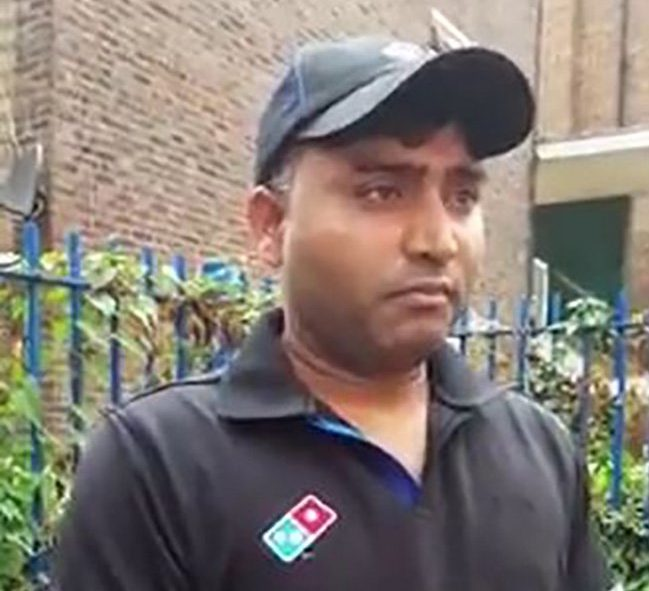 Pic shows Jitender Kumar A pervert was trapped by a gang of paedophile hunters after trying to entice a girl with an image of a woman performing a sex act with a snake. Domino's Pizza worker Jitender Kumar, 38, sent the photo on WhatsApp showing the lady inserting the viper into her privates with a condom over its head. Kumar thought he was sending the image to a 13-year-old girl called Molly but he was snared in a sting set up by a paedophile hunter group. SEE STORY CENTRAL NEWS