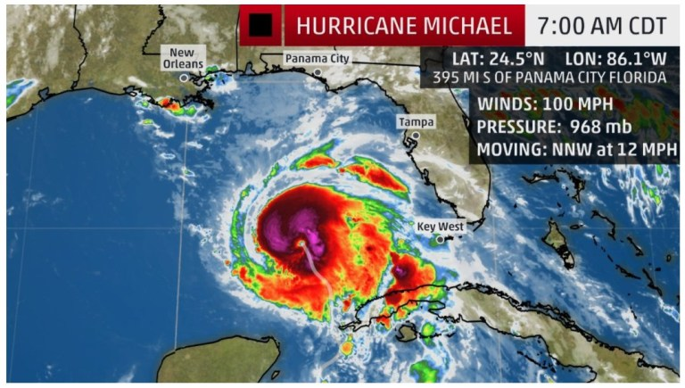 "Hurricane Michael takes aim at the Gulf Coast and Florida MIAMI -- Michael gained new strength over warm tropical waters amid a forecast that it would swiftly intensify into a major hurricane before striking Florida's northeast Gulf Coast, where frantic coastal residents were boarding up homes and seeking evacuation routes away from the dangerous storm heading their way. A hurricane hunter plane that bounced into the swirling eye of Michael off the west tip of Cuba late Monday found wind speeds were rising even as forecasters warned the storm would reach major (Category 3) hurricane status with winds topping 111 mph. Landfall is expected Wednesday on the northeastern Gulf Coast, where authorities warned of a potentially devastating strike. The National Hurricane Center, in Miami said early Tuesday that, ""On the forecast track, the center of Michael will continue to move over the southeastern Gulf of Mexico this morning, then move across the eastern Gulf of Mexico later today and tonight. The center of Michael is expected to move inland over the Florida Panhandle or Florida Big Bend area on Wednesday. The center added an ominous note, saying, ""Strengthening is expected, and Michael is forecast to be a major hurricane at landfall in Florida. Weakening is expected after landfall as Michael moves through the southeastern United States"" Wednesday night and Thursday. As of 5 a.m. EDT Tuesday, Michael's top sustained winds had strengthened somewhat to 90 mph as it headed north-northwest at 12 mph. The storm was centered about 390 miles south of Apalachicola and 420 miles south of Panama City, Florida. Hurricane-force winds extended outward up to 40 miles from the core and tropical-storm-force winds went out 195 miles Michael lashed western Cuba Monday with heavy rains and strong winds. Forecasters warned that Michael could dump up to a foot of rain in western Cuba, potentially triggering flash floods and mudslides in mountain areas. Disaster agencies in El Salvador, Honduras and Nicaragua reported 13 deaths as roofs collapsed and residents were carried away by swollen rivers. Six people died in Honduras, four in Nicaragua and three in El Salvador. Authorities were also searching for a boy swept away by a river in Guatemala. Most of the rain was blamed on a low-pressure system off the Pacific coast of El Salvador. Hurricane Michael in the Caribbean could have also contributed. On the Florida Panhandle, Escambia County Sheriff David Morgan bluntly advised residents who choose to ride out the storm that first responders won't be able to reach them during or immediately after Michael smashes into the coast. ""If you decide to stay in your home and a tree falls on your house or the storm surge catches you and you're now calling for help, there's no one that can respond to help you,"" Morgan said at a news conference. Florida Gov. Rick Scott called Michael a ""monstrous hurricane"" with a devastating potential from high winds, storm surge and heavy rains. He declared a state of emergency for 35 Florida counties from the Panhandle to Tampa Bay, activated hundreds of Florida National Guard members and waived tolls to encourage those near the coast to evacuate inland. He also warned caregivers at north Florida hospitals and nursing homes to do all possible to assure the safety of the elderly and infirm. Following Hurricane Irma last year, 14 people died when a South Florida nursing home lost power and air conditioning. ""If you're responsible for a patient, you're responsible for the patient. Take care of them,"" he said. A large mound of sand in Tallahassee was whittled down to a small pile within hours Monday as residents filled sandbags against potential flooding. Tallahassee Mayor Andrew Gillum, Florida's Democratic nominee for governor, filled sandbags with residents and urged residents of the state capital city to finish up emergency preparations quickly. Local authorities fear power outages and major tree damage from Michael."