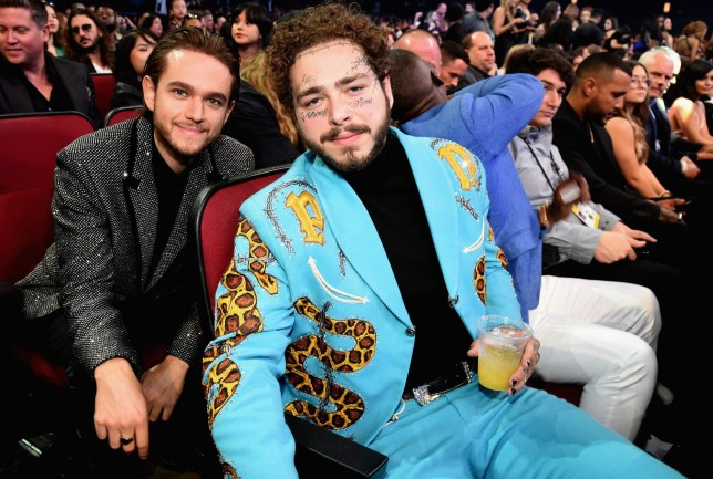LOS ANGELES, CA - OCTOBER 09: Zedd (L) and Post Malone at the 2018 American Music Awards at Microsoft Theater on October 9, 2018 in Los Angeles, California. (Photo by Kevin Mazur/AMA2018/Getty Images For dcp )