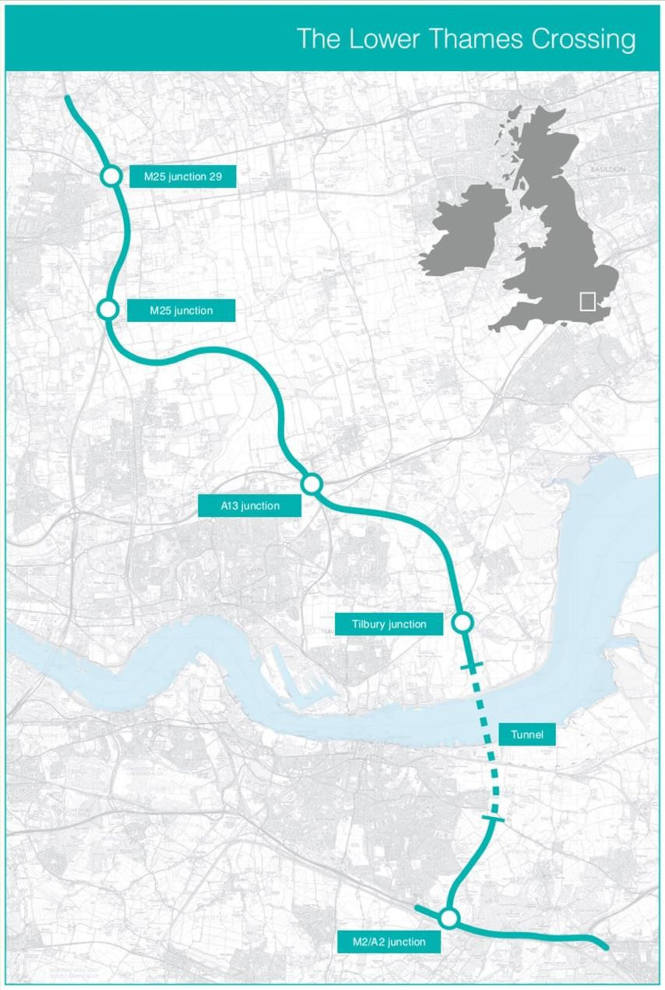 Undated handout image issued by Highways England of the latest proposed route of the new Lower Thames Crossing, as plans for the new multi-million pound road tunnel beneath the Thames have been updated to boost capacity. PRESS ASSOCIATION Photo. Issue date: Wednesday October 10, 2018. The whole route of the Lower Thames Crossing will be a three-lane dual carriageway rather than two lanes in some sections, according to the latest designs. See PA story TRANSPORT Crossing. Photo credit should read: Highways England/PA Wire NOTE TO EDITORS: This handout photo may only be used in for editorial reporting purposes for the contemporaneous illustration of events, things or the people in the image or facts mentioned in the caption. Reuse of the picture may require further permission from the copyright holder.