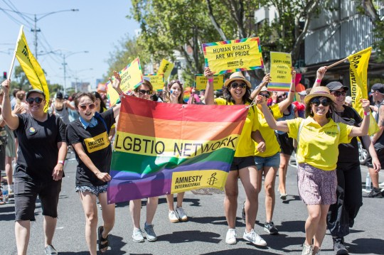 **IMAGE OUTSIDE OF SUBSCRIPTION DEAL, FEES APPLY** Mandatory Credit: Photo by Asanka Ratnayake/REX/Shutterstock (8137394ak) Amnesty International Gay pride Participants during the Midsumma festival pride march in St Kilda Midsumma Pride March, Melbourne, Australia - 29 Jan 2017