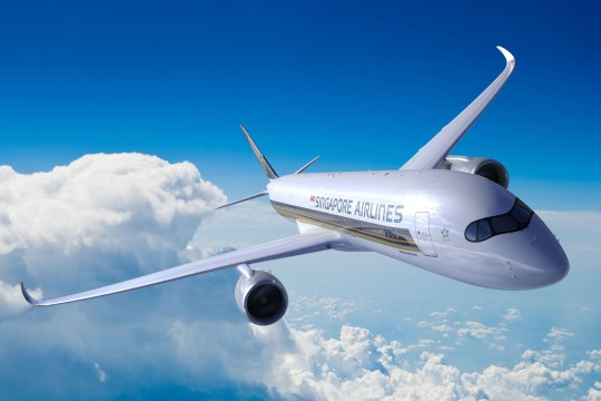 "CORRECTION - This undated handout picture released by Singapore Airlines on October 9, 2018 shows an A350-900ULR Airbus in flight. - A new Singapore Airlines route connecting the city-state to the New York area goes into operation on October 11, 2018 becoming the longest commercial plane ride in the world. (Photo by Handout / SINGAPORE AIRLINES / AFP) / -----EDITORS NOTE --- RESTRICTED TO EDITORIAL USE - MANDATORY CREDIT ""AFP PHOTO / Singapore Airlines "" - NO MARKETING - NO ADVERTISING CAMPAIGNS - DISTRIBUTED AS A SERVICE TO CLIENTS / The erroneous mention[s] appearing in the metadata of this handout photo has been modified in AFP systems in the following manner: [adding restrictions]. Please immediately remove the erroneous mention[s] from all your online services and delete it (them) from your servers. If you have been authorized by AFP to distribute it (them) to third parties, please ensure that the same actions are carried out by them. Failure to promptly comply with these instructions will entail liability on your part for any continued or post notification usage. Therefore we thank you very much for all your attention and prompt action. We are sorry for the inconvenience this notification may cause and remain at your disposal for any further information you may require.HANDOUT/AFP/Getty Images"