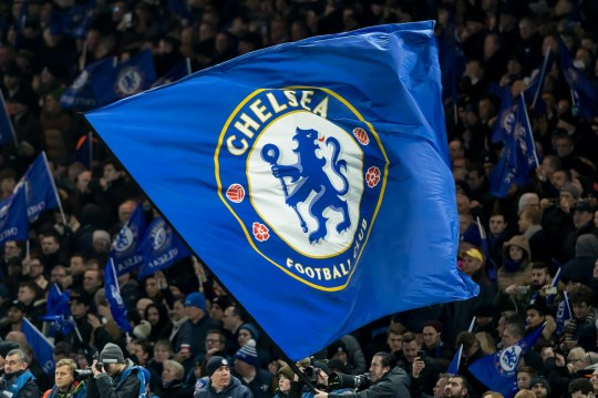 LONDON, ENGLAND - FEBRUARY 20: Fans of Chelsea FC waves a flag prior the UEFA Champions League Round of 16 First Leg match between Chelsea FC and FC Barcelona at Stamford Bridge on February 20, 2018 in London, United Kingdom. (Photo by TF-Images/Getty Images)