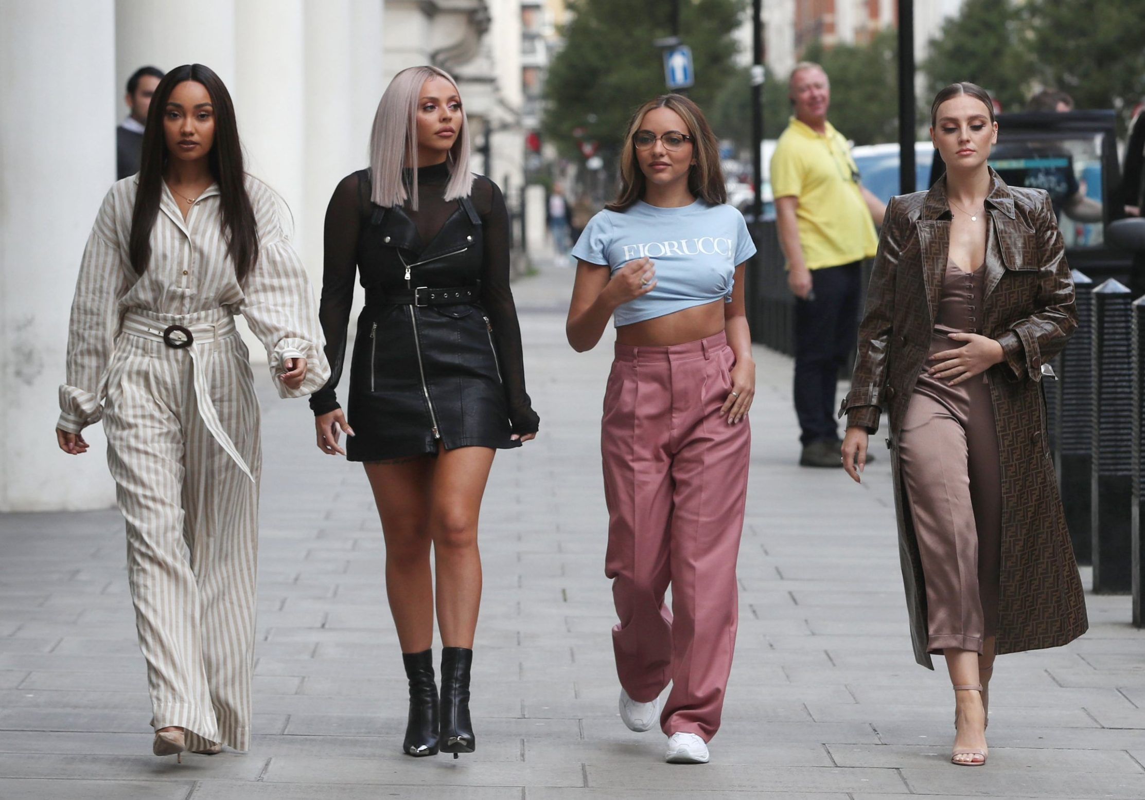 Mandatory Credit: Photo by Beretta/Sims/REX (9922670u) Leigh-Anne Pinnock, Jesy Nelson, Jade Thirlwall and Perrie Edwards at BBC radio 1 Little Mix out and about, London, UK - 11 Oct 2018
