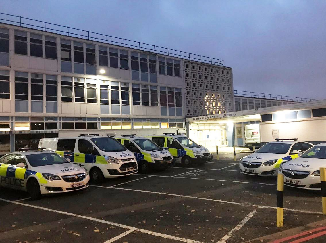 """""""Aunit with you again this morning. My colleague and I turned out early to relieve night officers at hospital. This is the scene outside A and E this morning. Each car represents 2 officers on a hospital watch with prisoners from custody or vulnerable people."""""""