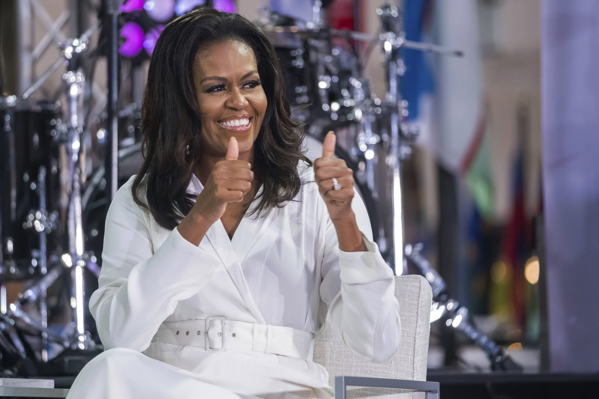 """Michelle Obama participates in the International Day of the Girl on NBC's """"Today"""" show at Rockefeller Plaza on Thursday, Oct. 11, 2018, in New York. (Photo by Charles Sykes/Invision/AP)"""