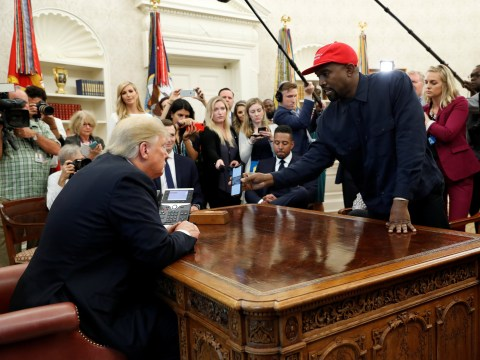 Kanye West gifted Donald Trump a pair of Yeezys and a custom Make America Great hat