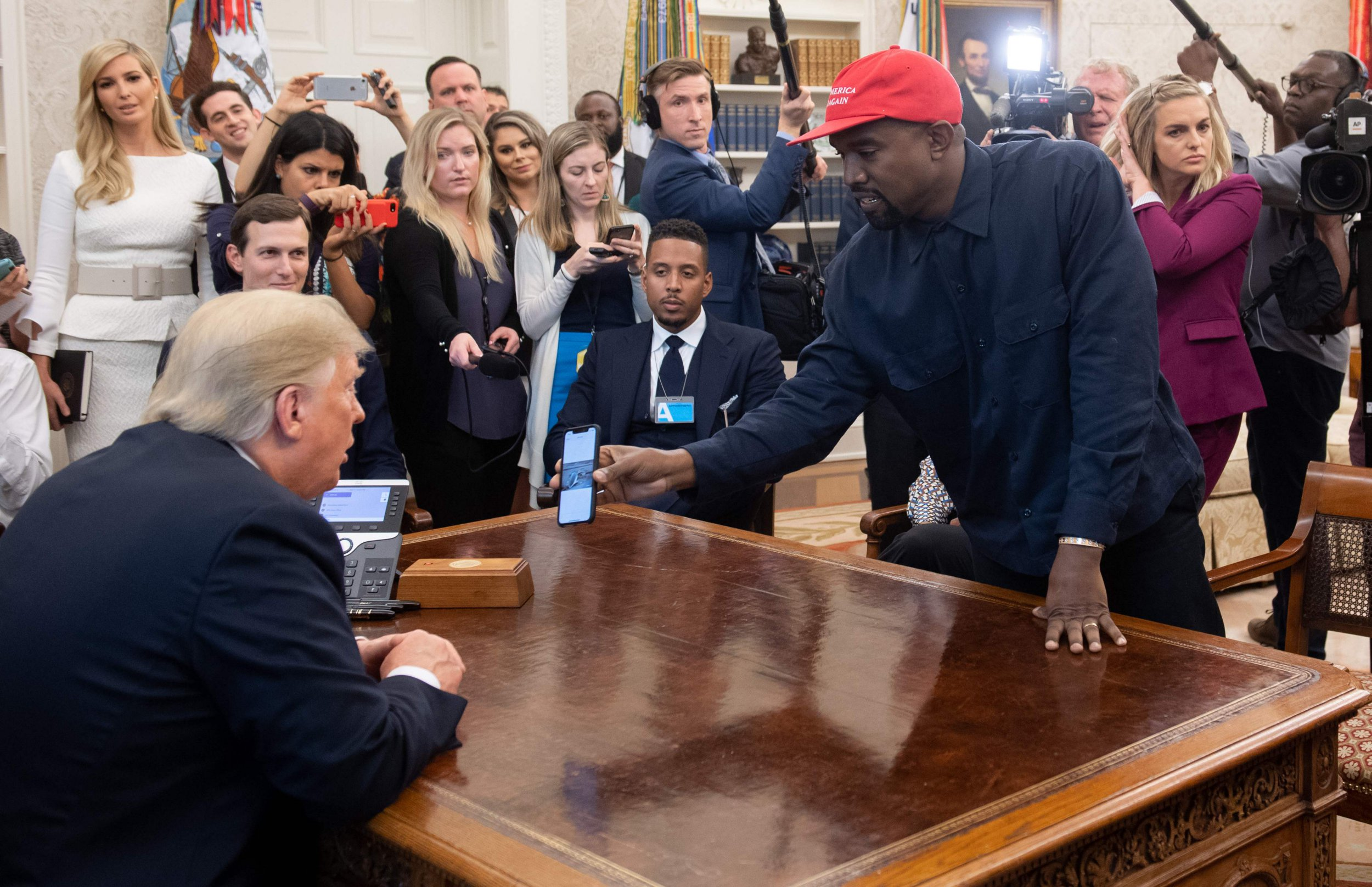 US President Donald Trump meets with rapper Kanye West (R) in the Oval Office of the White House in Washington, DC, on October 11, 2018. (Photo by SAUL LOEB / AFP)SAUL LOEB/AFP/Getty Images