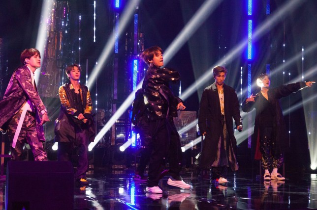 Boyband BTS performing during the filming of the Graham Norton Show at BBC Studioworks 6 Television Centre, Wood Lane, London, to be aired on BBC One on Friday evening. PRESS ASSOCIATION Photo. Picture date: Thursday October 11, 2018. Photo credit should read: PA Images on behalf of So TV