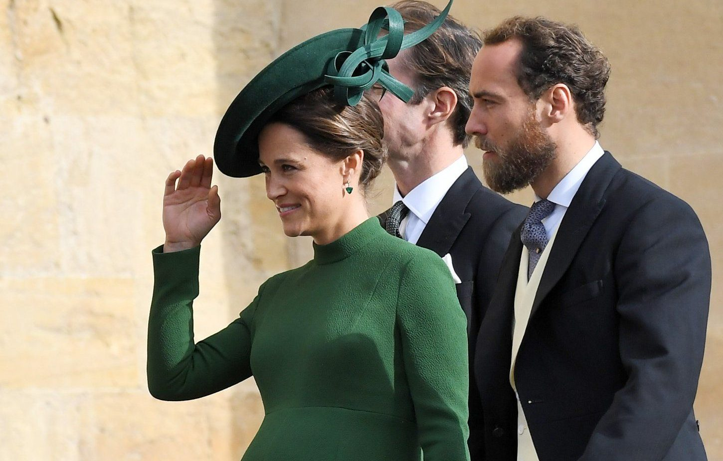 Mandatory Credit: Photo by James Gourley/REX (9927740cb) Pippa Middleton and James Middleton The wedding of Princess Eugenie and Jack Brooksbank, Pre-Ceremony, Windsor, Berkshire, UK - 12 Oct 2018