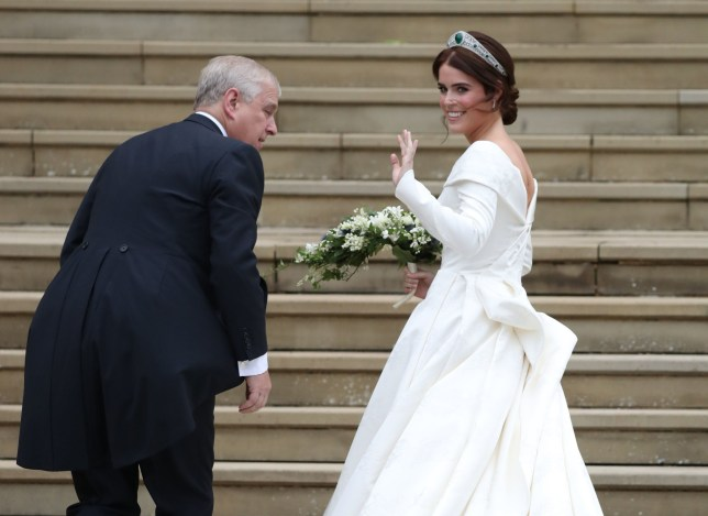 Princess Eugenie arrives with her father, the Duke of York, for her wedding to Jack Brooksbank at St George's Chapel in Windsor Castle. PRESS ASSOCIATION Photo. Picture date: Friday October 12, 2018. See PA story ROYAL Wedding. Photo credit should read: Steve Parsons/PA Wire