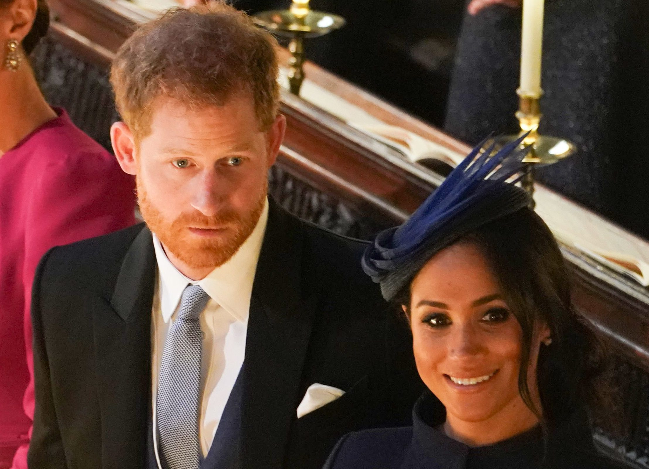 Mandatory Credit: Photo by REX (9927742br) Prince Harry and Meghan Duchess of Sussex The wedding of Princess Eugenie and Jack Brooksbank, Ceremony, St George's Chapel, Windsor Castle, Berkshire, UK - 12 Oct 2018